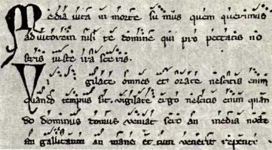 Music manuscript with neumes over text. From http://muswrite.blogspot.com/2014/12/orff-carmina-burana.html.