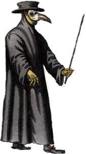 """1656 Copper Engraving of a """"Beak Doctor.""""  Der Doctor Schnabel von Rom: Paul Fuerst"""