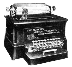Later version of the Morkrum Printing Telegraph, eventually re-named the Teletype, c. 1910 http://realart.com/thought-lab/newfangled-nostalgia-the-teletype-machine/